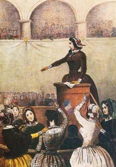 Grabado representando a Flora, en una reunión política