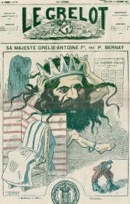 Caricatura del rey Orelio Antonio Primero en el periódico Le Grelot