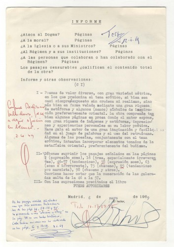 Expediente de censura de la obra La Centena. Signatura: MECD, AGA, Caja 66/03042