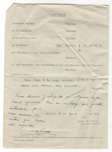 Expediente de censura de la obra Libertad bajo palabra. Signatura: MECD, AGA, Caja 21/09199